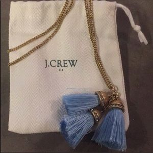 J. Crew Triple Tassle Periwinkle Long Necklace NWT